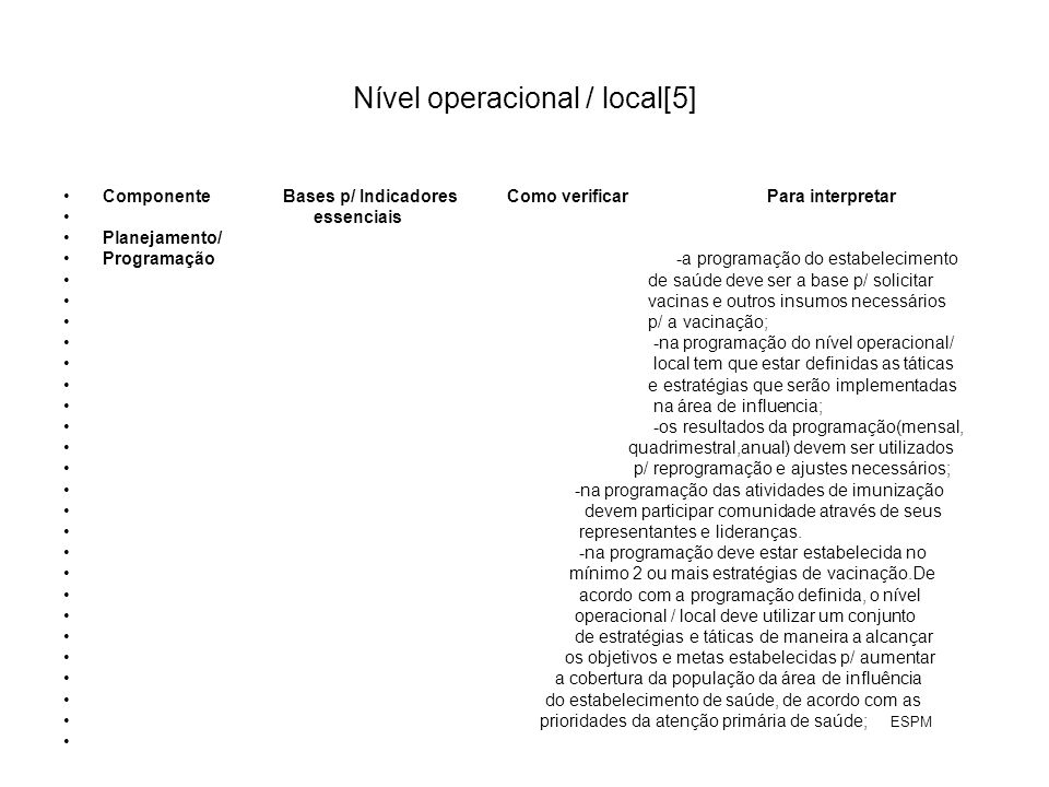 Nível operacional / local[5]